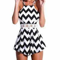 SUNNOW® Sexy Halter Straps Wave Pattern Swing Jumpsuit Crossed Back Playsuit