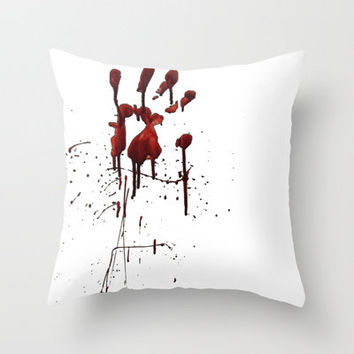 Zombie Attack Bloodprint - Halloween Throw Pillow by Nicklas Gustafsson | Society6