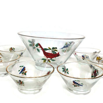 Vintage Glass Salad Bowl Set with Bird Decals Large Salad Serving Bowl with Six Matching Salad Bowls Gold Rims
