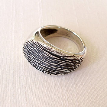 Sterling Silver Textured Ring - Nature Bark Leaf Texture Ring - Highly Polished - Simple Original Unique Beautiful Ring - Black White Silver