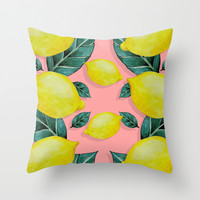 WHEN LIFE GIVES YOU LEMONS Throw Pillow by Karla Amber