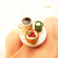 Kawaii Food Ring Coffee Cream Tart Miniature by SouZouCreations