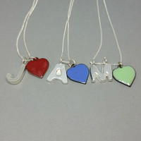 Solid Sterling Silver Initial Pendant and Enamel Charm Personalised Initial Necklace
