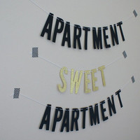 Apartment Sweet Apartment Banner - Black and Gold Glitter Cardstock