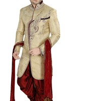 Elegant Brown Brocade Silk Indian Wedding Sherwani For Men Buy Only