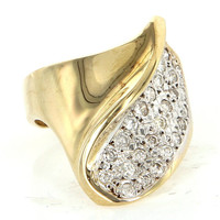 Vintage Retro 14 Karat Yellow Gold Diamond Cocktail Ring Fine Estate Jewelry