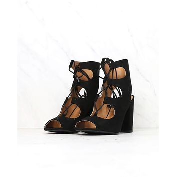 Suede Lace Up Heel Sandals in Black