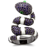Fashion Rings 0W184 Ruthenium Brass Ring with AAA Grade CZ