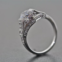 14kt White Gold and Diamond Art Deco Design Engagement Ring With 1.00 Carat White Sapphire Center