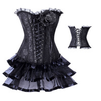 Black Lace Ruffled Trim Corset And Petticoat Skirt
