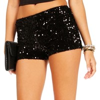 Black Velvet Sequin Shorts