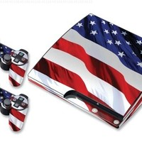 Designer Skin for Sony PlayStation PS3 SLIM System & Remote Controllers -Stars N Stripes