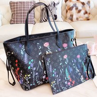 Louis Vuitton LV Trending Popular Women Shopping Leather Tote Handbag Shoulder Bag Purse Wallet Set Two-Piece