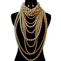 Gold and Olive Pearl Long Layered 3 Pcs Set
