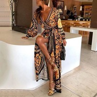2019 New Style Fashion Dress Elegant Women Sexy Glitter Deep V Neck Print Party Dress Formal Long Dresses Sexy Clubwear