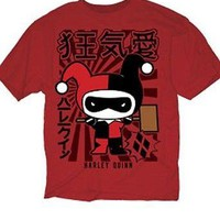 DC HARLEY QUINN JAPANESE CHIBI - RED Adult T-Shirt - Batman Joker - S-2XL