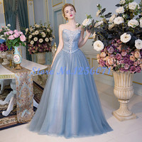 Fancy Appliques Ball Gown Prom Dresses 2016 Long Prom Dress Princess Party Dresses vestido de festa Lovely Evening Gown
