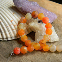 "8mm Orange Frosted Agate Beads 7"" Strand"