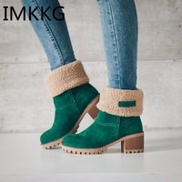 Women Boots Female Winter Shoes Woman Fur Warm Snow Boots Fashion Square High Heels Black Green Boots V229