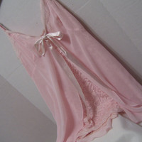 Nightgown Pink Chiffon and Lace Fly-a-way Overlay Victoria Secret Bridal Honeymoon