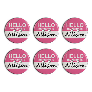 Allison Hello My Name Is Plastic Resin Button Set of 6