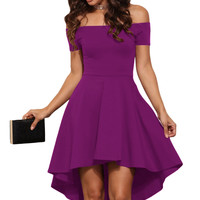 Rosy Shoulder Off Fit and Flare All The Rage Skater Dress