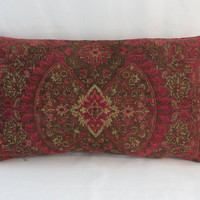 "Red and Brown Chenille Pillow, Large 13 x 24"", Tapestry Medallion Carpet Style, Heavy & Soft, Vintage Look, Optnl Feather Insert, Only ONE"