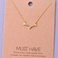 Dainty Tiny Triple Triangle Necklace - Gold or Silver