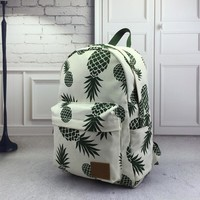 canvas backpack pineapple printing bag pack casual school bag