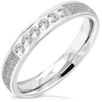 Stainless Steel Contemporary Sandblasted Cubic Zirconia Wedding Band Ring
