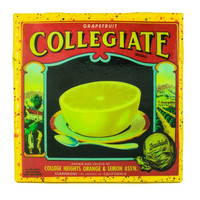 Collegiate Grapefruit Brand - Vintage Citrus Crate Label - Handmade Recycled Tile Coaster