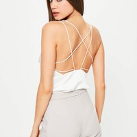 Missguided - White Satin Strappy Bodysuit