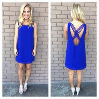 Royal Blue Stranded Sleeveless Shift Dress