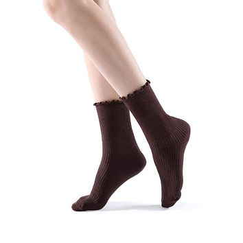 Princess Lulu Ruffle Crew Sock | Brown