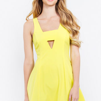 Sleeveless Deep-V Fit and Flare Cocktail Dress - Citrus