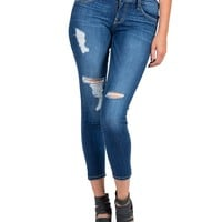 Flying Monkey - Cropped Lightly Distressed Skinny Jeans