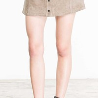Jack by BB Dakota Faux Suede Button Front Mini Skirt for Women in Stone Brown JG49153