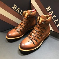 BALLY Men's Leather Fashion High Top Boots Shoes