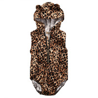 Unisex 1-2Y Baby Boys Girl Sleeveless Zipper Romper Leopard Jumpsuit Kids Hooded Clothes Outfits Sunsuit