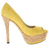 Yellow Suede Peep Toe Tropicana Pumps