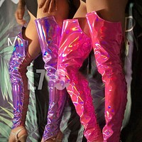 Nightclub Handsome Laser Bright Bandage Boots Cover DS DJ Female Singer Bar Costumes Accessories Fluorescent Leg Sets DWY3444