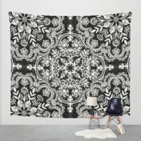 Black & White Folk Art Pattern Wall Tapestry by Micklyn