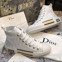 Dior CD mesh lace-up sneakers low-top flat sports hip-hop sneakers letter high-top shoes men and women casual shoes 1
