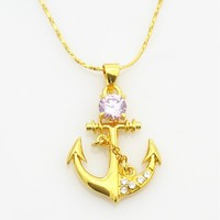 woman gift sailor retro Hooks anchor necklace-yellow azorite