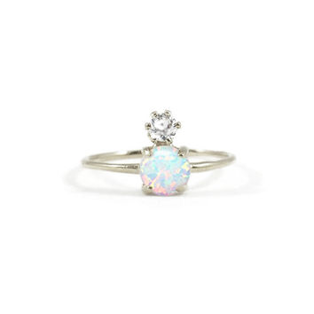 Sterling Silver Double Dose Ring (opal and diamond)