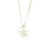 Sterling Silver Hexal Pendant (white drusy inlay)