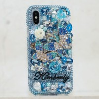 Blue Double Butterfly Personalized Name & Initials Design (style PN_1052)