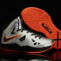 Beauty Ticks Nike Lebron Silver/orange Youth Kids Basketball Shoes Us 11c - 3y