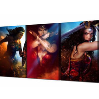 3Plane Canvas Painting Wall Art Posters Wonder Wom