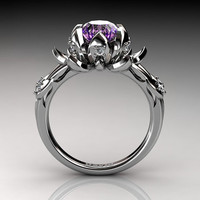 Nature Inspired 14K White Gold 2.0 Carat Oval Pink Amethyst Diamond Lotus Flower Engagement Ring R1013-14KWGDAM